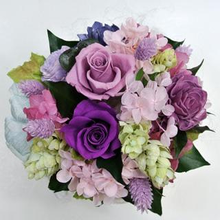 お歳暮 プリザーブドフラワーギフト グラデーションリラ 紫のバラ