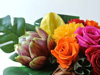 会場を飾る 会場装花 個性派アレンジ プリザーブドフラワー トロピカルコンポスタ